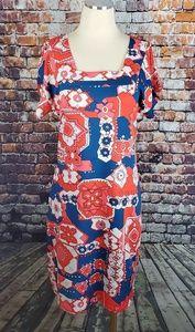 Tracy Negoshian Blue/Red Design Dress Size M